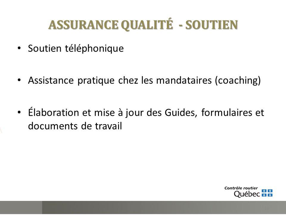 Soutien téléphonique Assistance pratique chez les mandataires (coaching) Élaboration et mise à jour des Guides, formulaires et documents de travail ASSURANCE QUALITÉ - SOUTIEN 10