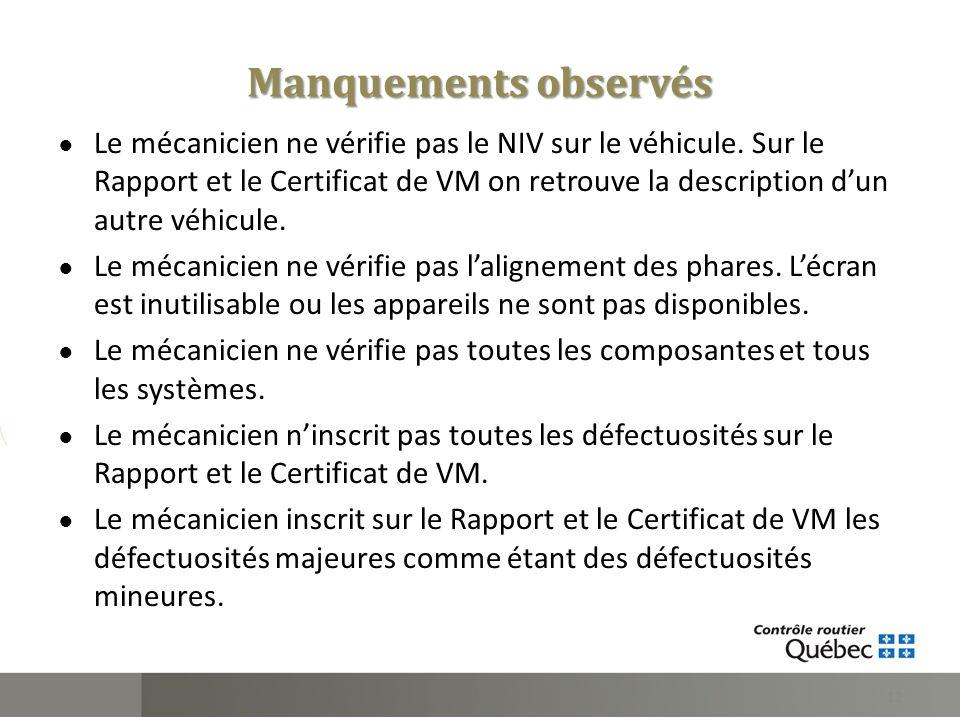 Le mécanicien ne vérifie pas le NIV sur le véhicule. Sur le Rapport et le Certificat de VM on retrouve la description dun autre véhicule. Le mécanicie