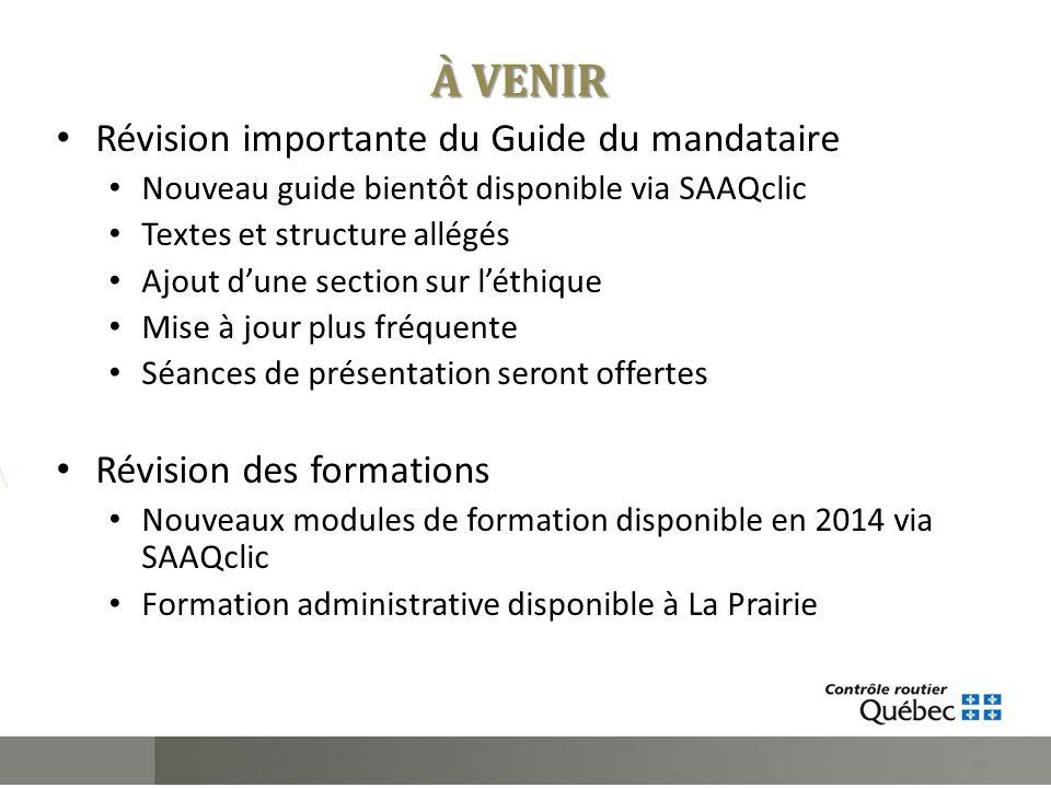 À VENIR Révision importante du Guide du mandataire Nouveau guide bientôt disponible via SAAQclic Textes et structure allégés Ajout dune section sur lé