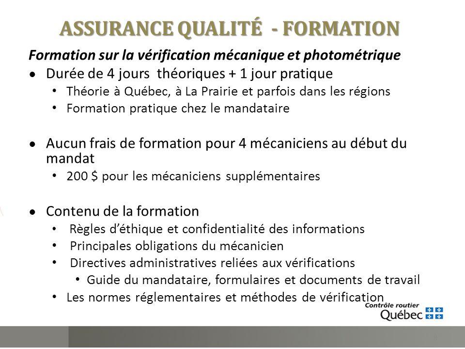 Formation sur la vérification mécanique et photométrique Durée de 4 jours théoriques + 1 jour pratique Théorie à Québec, à La Prairie et parfois dans