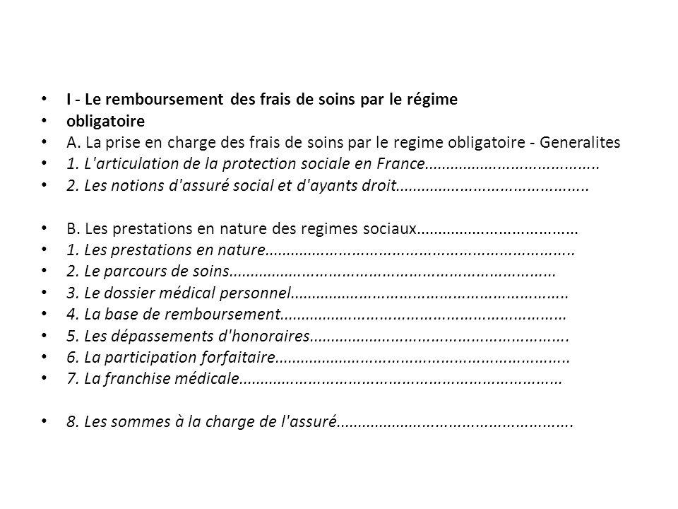 I - Le remboursement des frais de soins par le régime obligatoire A. La prise en charge des frais de soins par le regime obligatoire - Generalites 1.