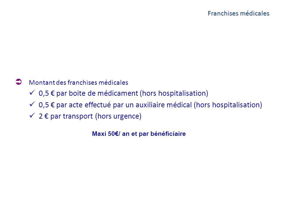Franchises médicales Montant des franchises médicales 0,5 par boite de médicament (hors hospitalisation) 0,5 par acte effectué par un auxiliaire médic