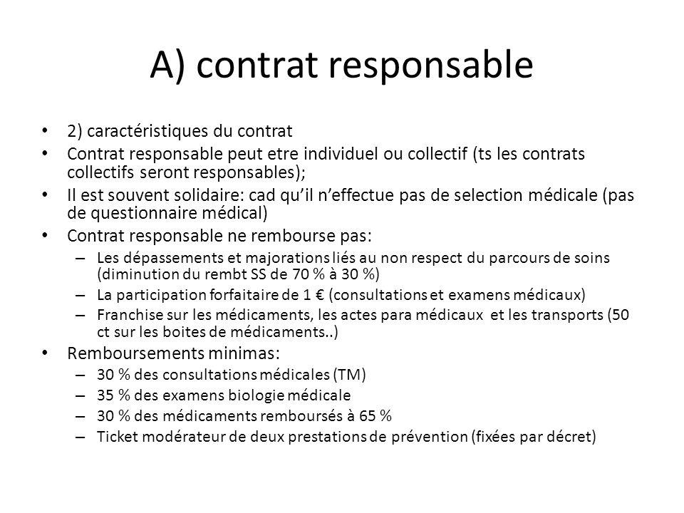 A) contrat responsable 2) caractéristiques du contrat Contrat responsable peut etre individuel ou collectif (ts les contrats collectifs seront respons