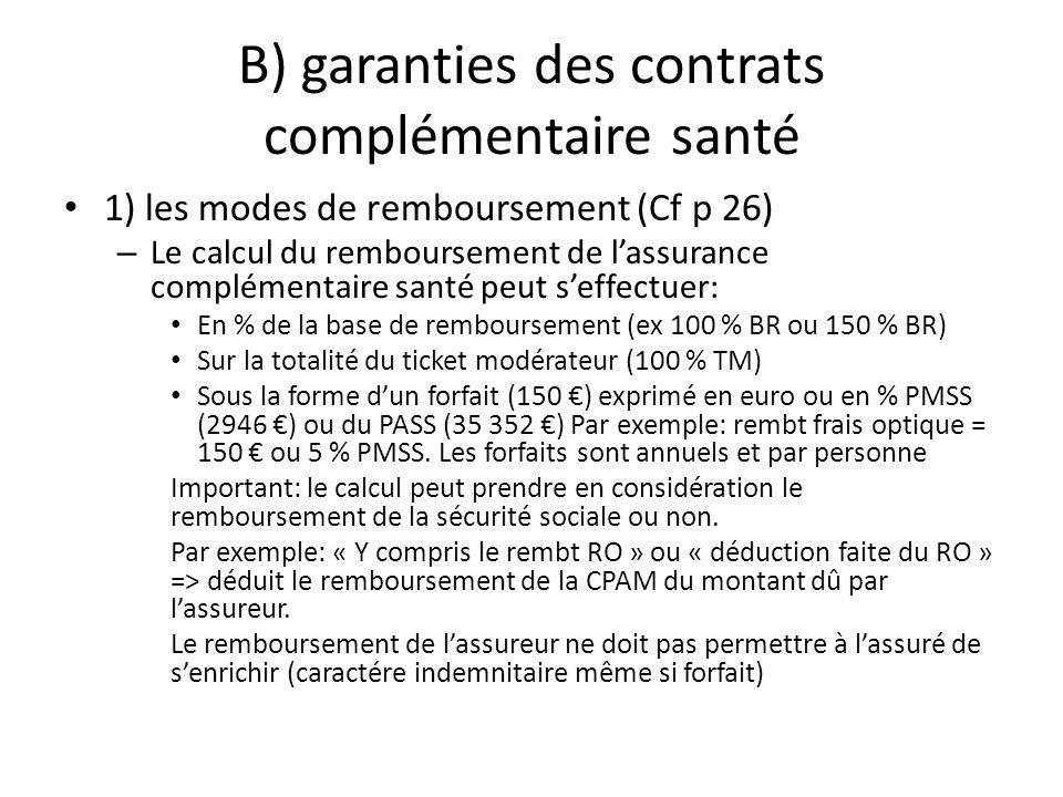 B) garanties des contrats complémentaire santé 1) les modes de remboursement (Cf p 26) – Le calcul du remboursement de lassurance complémentaire santé