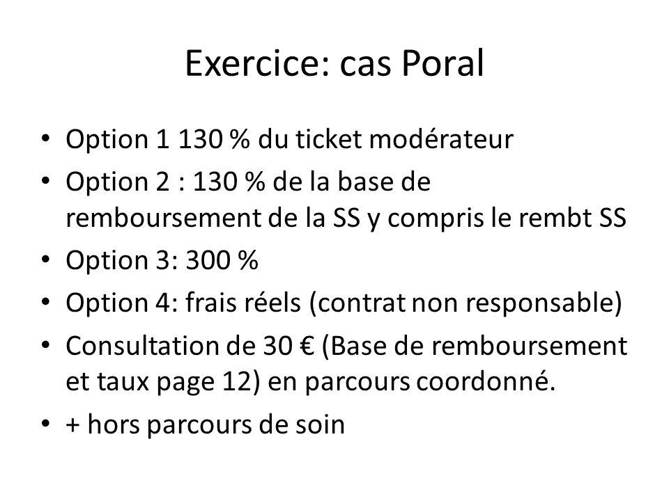 Exercice: cas Poral Option 1 130 % du ticket modérateur Option 2 : 130 % de la base de remboursement de la SS y compris le rembt SS Option 3: 300 % Op