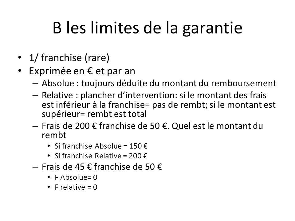 B les limites de la garantie 1/ franchise (rare) Exprimée en et par an – Absolue : toujours déduite du montant du remboursement – Relative : plancher