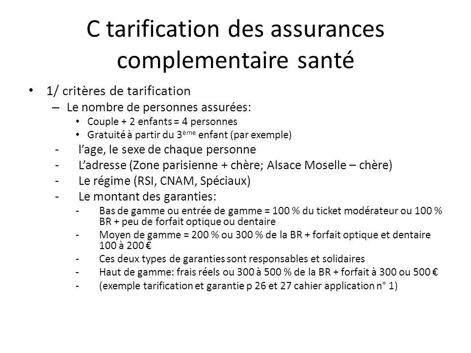 C tarification des assurances complementaire santé 1/ critères de tarification – Le nombre de personnes assurées: Couple + 2 enfants = 4 personnes Gra