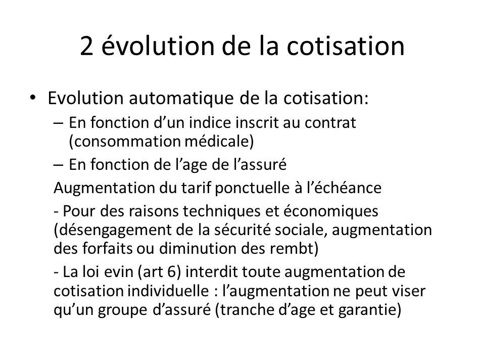 2 évolution de la cotisation Evolution automatique de la cotisation: – En fonction dun indice inscrit au contrat (consommation médicale) – En fonction
