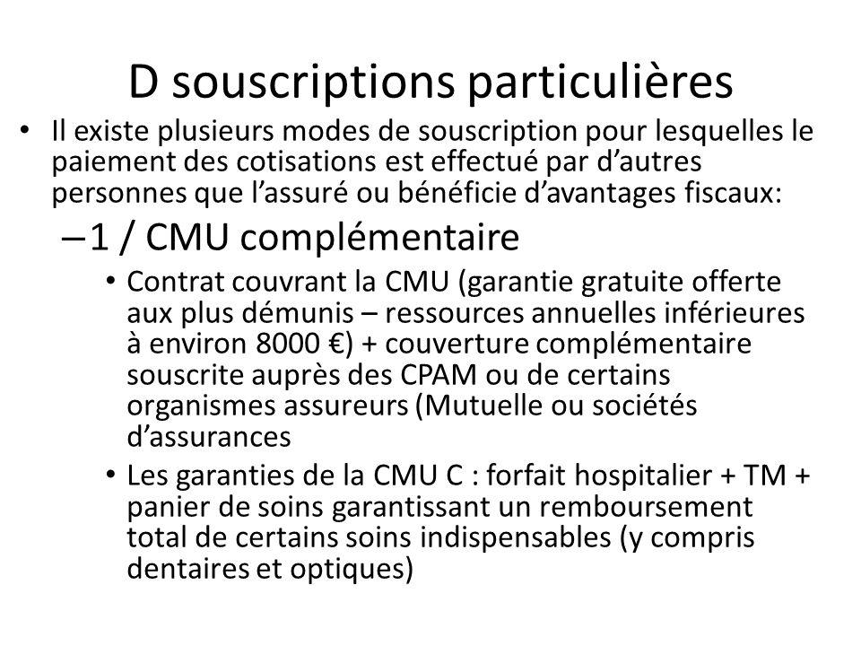 D souscriptions particulières Il existe plusieurs modes de souscription pour lesquelles le paiement des cotisations est effectué par dautres personnes