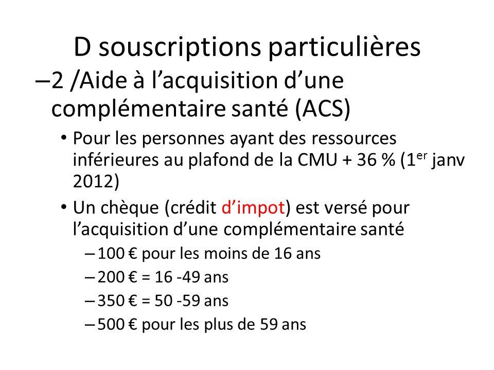 D souscriptions particulières – 2 /Aide à lacquisition dune complémentaire santé (ACS) Pour les personnes ayant des ressources inférieures au plafond