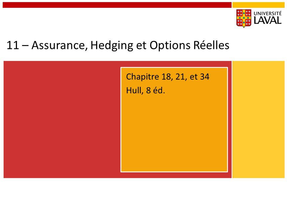 11 – Assurance, Hedging et Options Réelles Chapitre 18, 21, et 34 Hull, 8 éd.