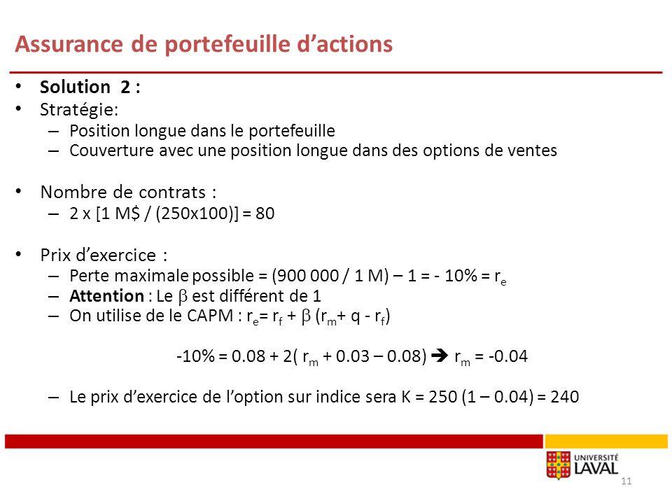 Assurance de portefeuille dactions Solution 2 : Stratégie: – Position longue dans le portefeuille – Couverture avec une position longue dans des optio