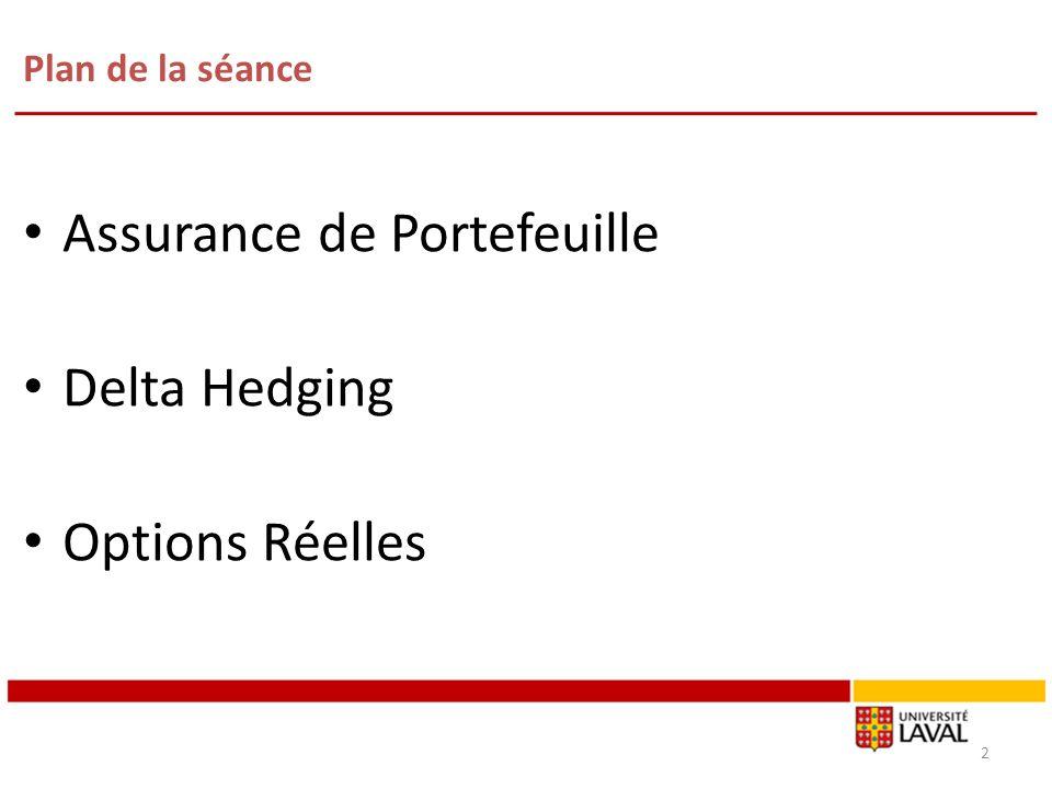 Plan de la séance Assurance de Portefeuille Delta Hedging Options Réelles 2
