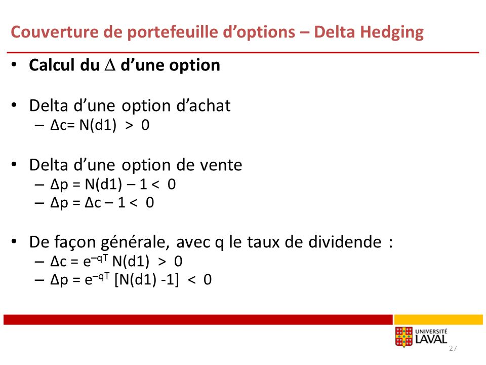 Couverture de portefeuille doptions – Delta Hedging Calcul du dune option Delta dune option dachat – Δc= N(d1) > 0 Delta dune option de vente – Δp = N