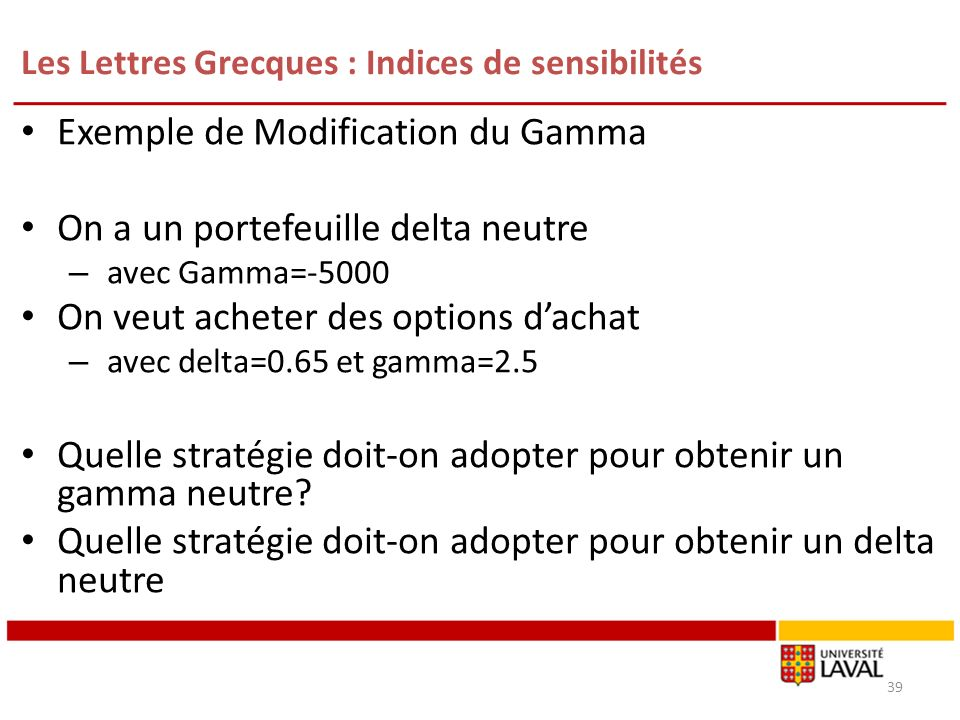 Les Lettres Grecques : Indices de sensibilités Exemple de Modification du Gamma On a un portefeuille delta neutre – avec Gamma=-5000 On veut acheter des options dachat – avec delta=0.65 et gamma=2.5 Quelle stratégie doit-on adopter pour obtenir un gamma neutre.