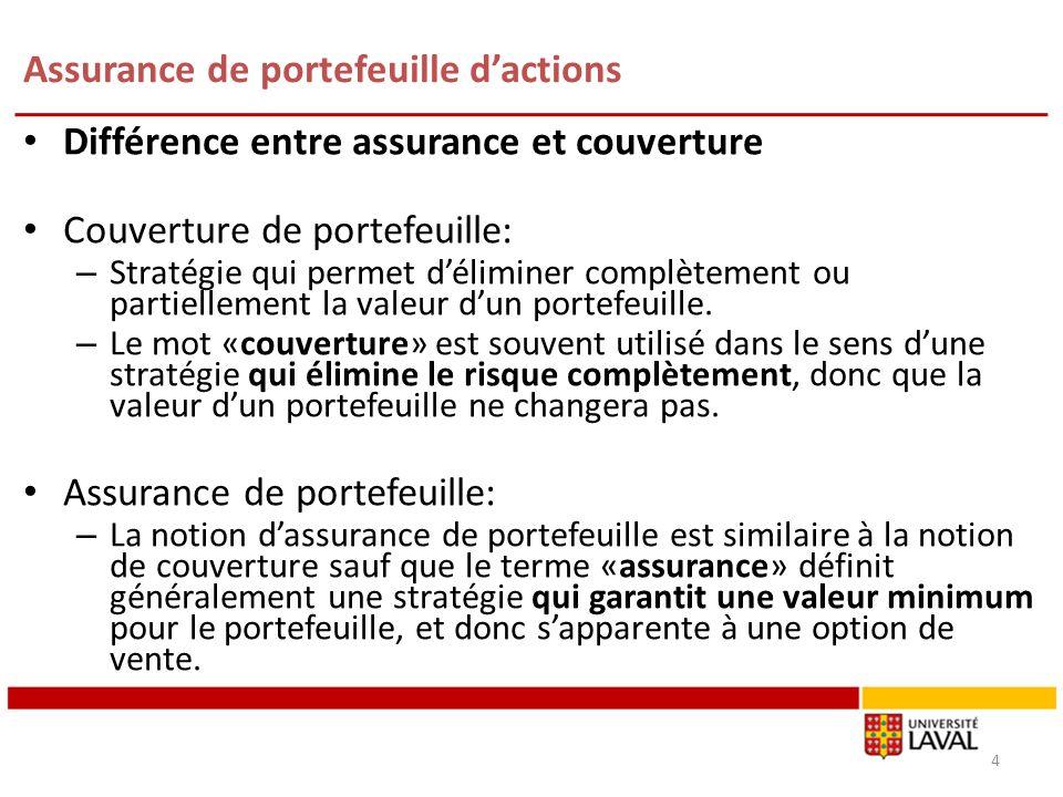 Assurance de portefeuille dactions Différence entre assurance et couverture Couverture de portefeuille: – Stratégie qui permet déliminer complètement