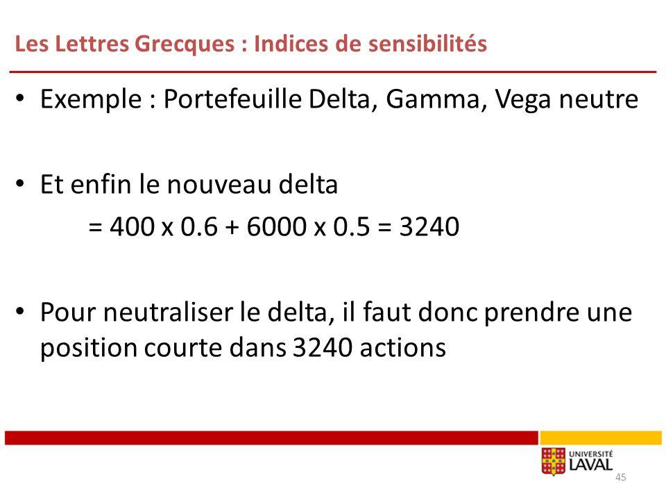 Les Lettres Grecques : Indices de sensibilités 45 Exemple : Portefeuille Delta, Gamma, Vega neutre Et enfin le nouveau delta = 400 x 0.6 + 6000 x 0.5