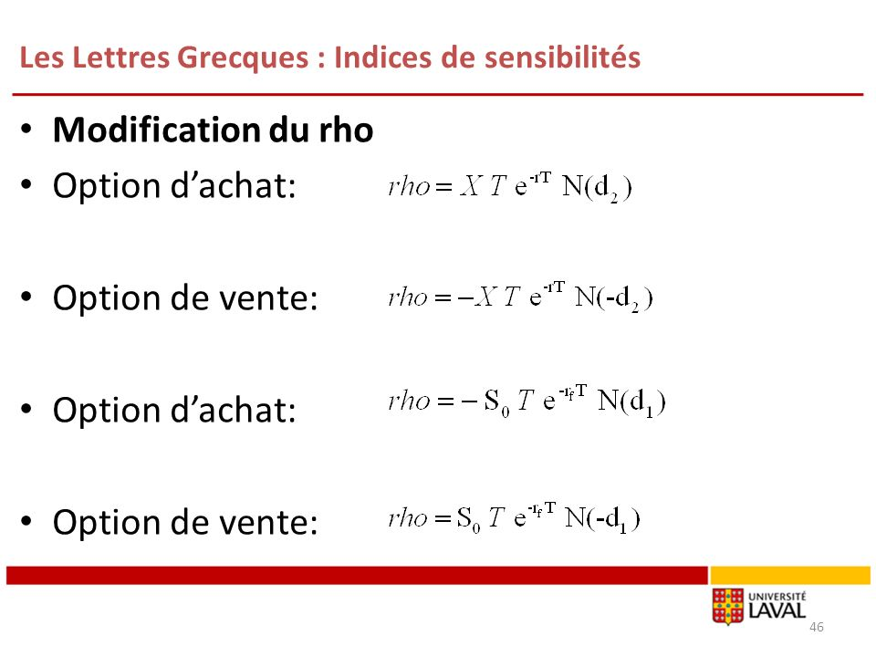 Les Lettres Grecques : Indices de sensibilités 46 Modification du rho Option dachat: Option de vente: Option dachat: Option de vente:
