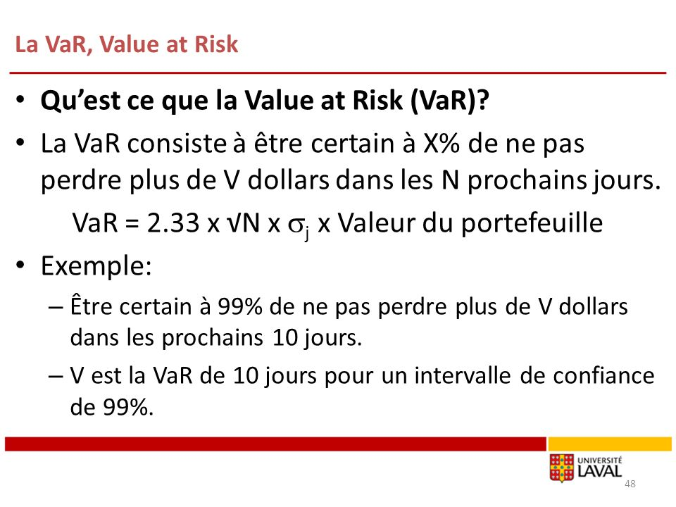 La VaR, Value at Risk 48 Quest ce que la Value at Risk (VaR).