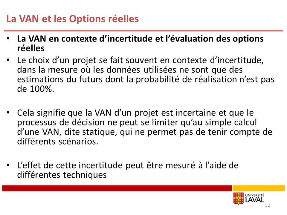 La VAN et les Options réelles 52 La VAN en contexte dincertitude et lévaluation des options réelles Le choix dun projet se fait souvent en contexte di