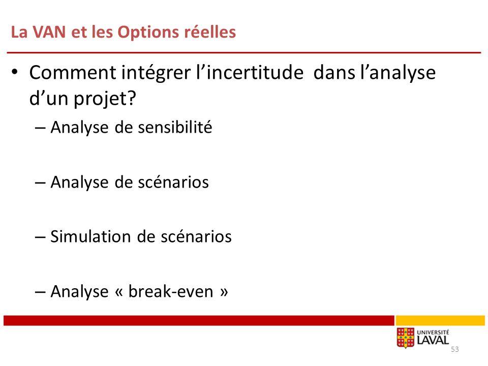 La VAN et les Options réelles 53 Comment intégrer lincertitude dans lanalyse dun projet? – Analyse de sensibilité – Analyse de scénarios – Simulation