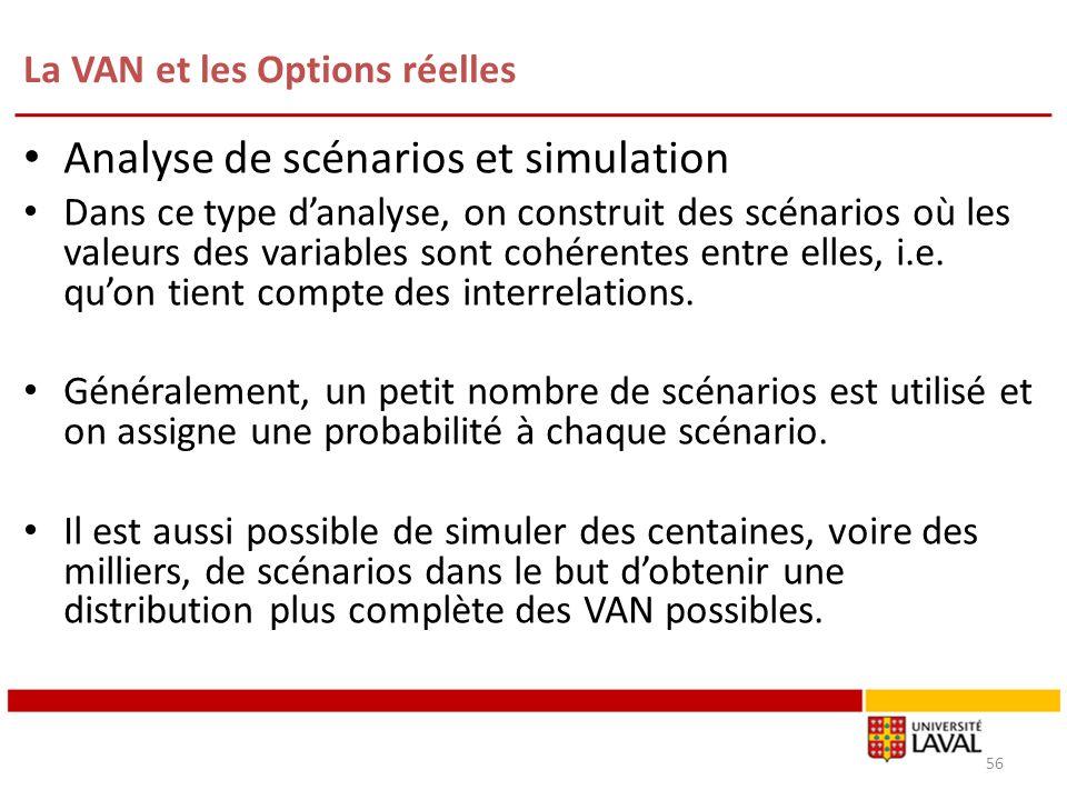 La VAN et les Options réelles 56 Analyse de scénarios et simulation Dans ce type danalyse, on construit des scénarios où les valeurs des variables son