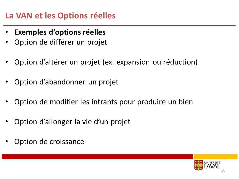 La VAN et les Options réelles 63 Exemples doptions réelles Option de différer un projet Option daltérer un projet (ex. expansion ou réduction) Option
