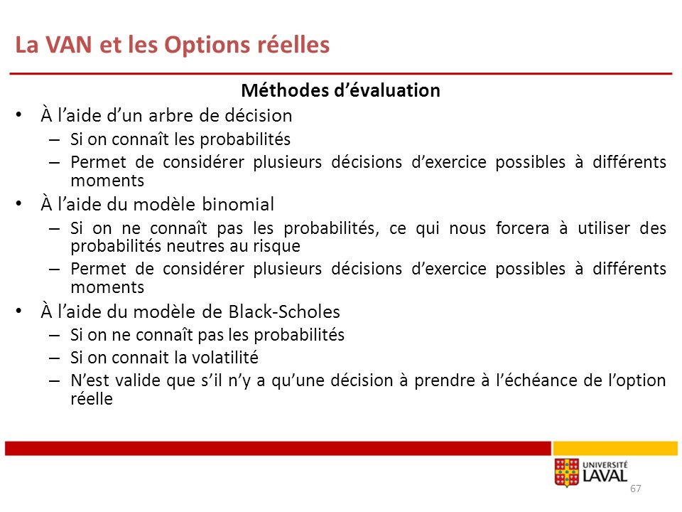 La VAN et les Options réelles 67 Méthodes dévaluation À laide dun arbre de décision – Si on connaît les probabilités – Permet de considérer plusieurs