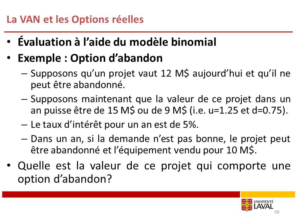 La VAN et les Options réelles 68 Évaluation à laide du modèle binomial Exemple : Option dabandon – Supposons quun projet vaut 12 M$ aujourdhui et quil