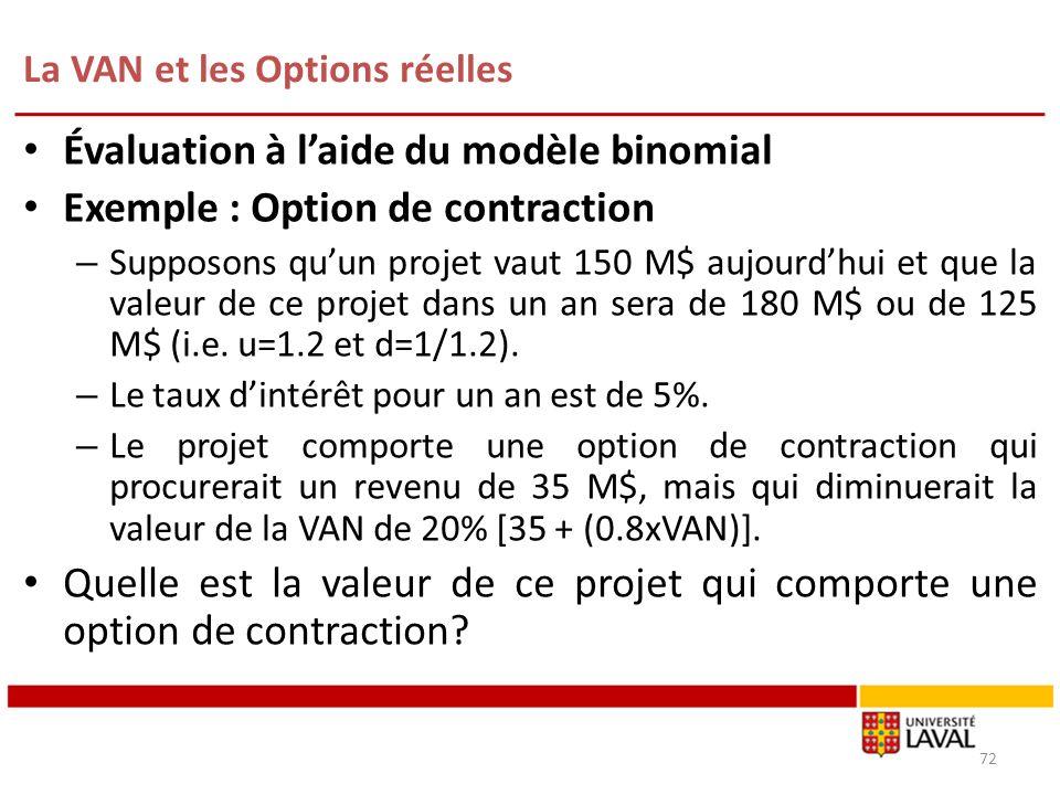 La VAN et les Options réelles 72 Évaluation à laide du modèle binomial Exemple : Option de contraction – Supposons quun projet vaut 150 M$ aujourdhui