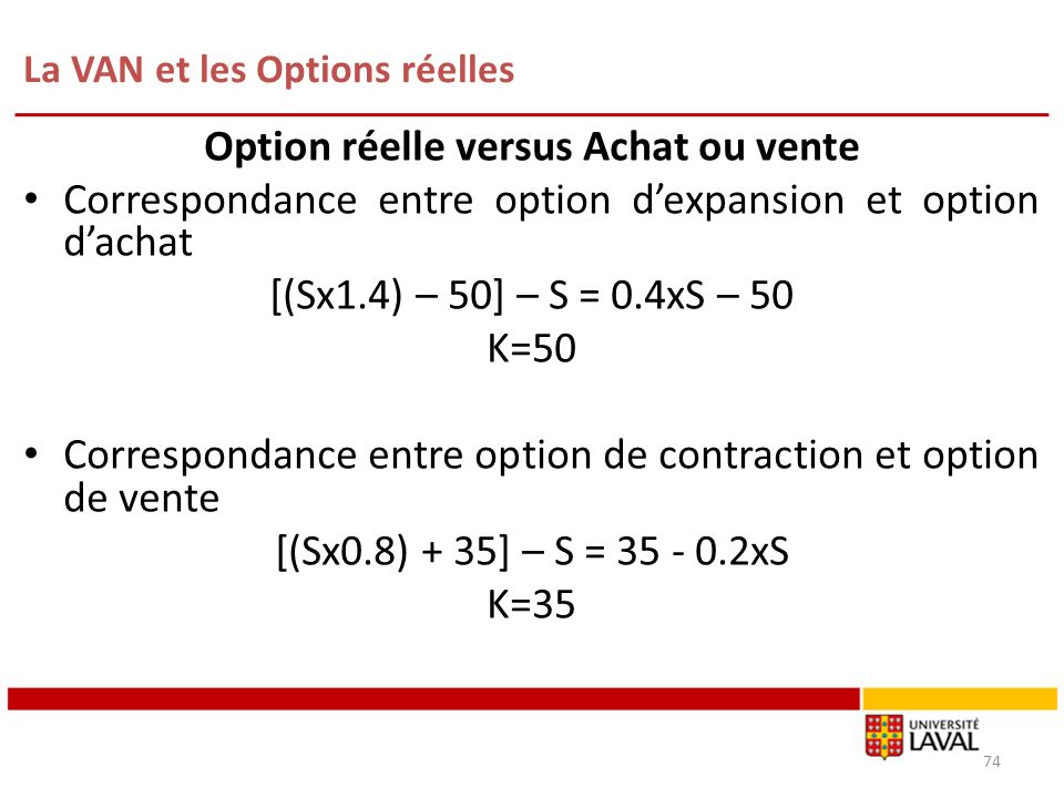 La VAN et les Options réelles 74 Option réelle versus Achat ou vente Correspondance entre option dexpansion et option dachat [(Sx1.4) – 50] – S = 0.4xS – 50 K=50 Correspondance entre option de contraction et option de vente [(Sx0.8) + 35] – S = 35 - 0.2xS K=35