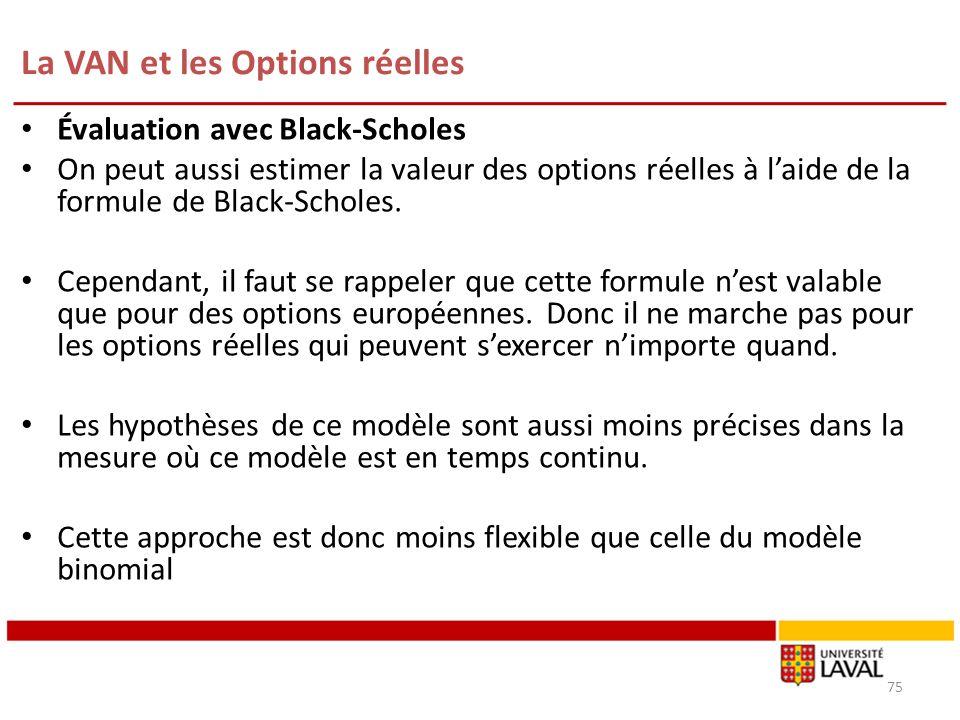 La VAN et les Options réelles 75 Évaluation avec Black-Scholes On peut aussi estimer la valeur des options réelles à laide de la formule de Black-Scho