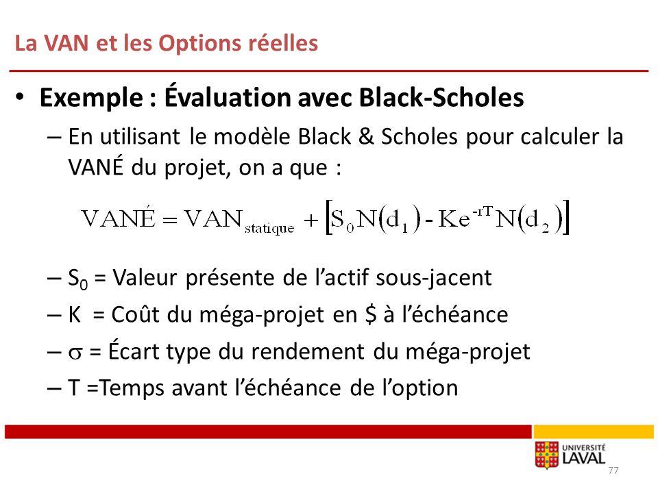 La VAN et les Options réelles 77 Exemple : Évaluation avec Black-Scholes – En utilisant le modèle Black & Scholes pour calculer la VANÉ du projet, on