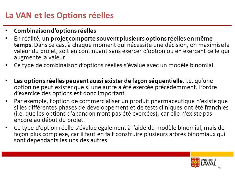 La VAN et les Options réelles 79 Combinaison doptions réelles En réalité, un projet comporte souvent plusieurs options réelles en même temps. Dans ce
