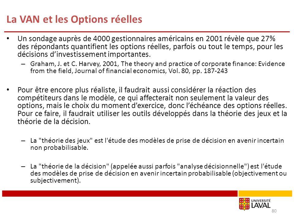 La VAN et les Options réelles 80 Un sondage auprès de 4000 gestionnaires américains en 2001 révèle que 27% des répondants quantifient les options réel