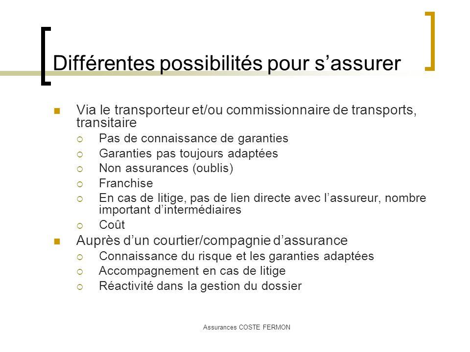 Assurances COSTE FERMON Différentes possibilités pour sassurer Via le transporteur et/ou commissionnaire de transports, transitaire Pas de connaissanc