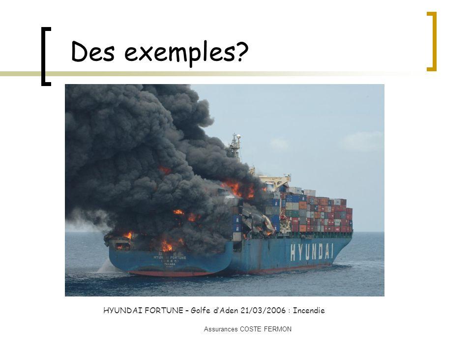 Des exemples? HYUNDAI FORTUNE – Golfe dAden 21/03/2006 : Incendie Assurances COSTE FERMON