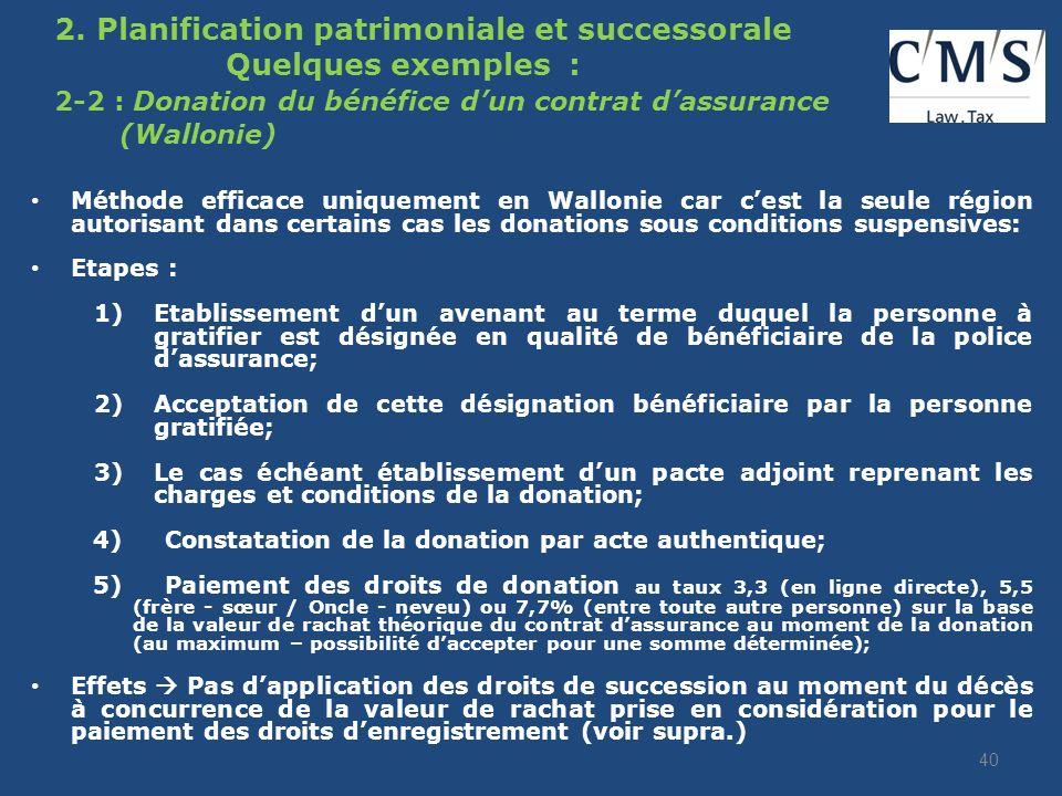 2. Planification patrimoniale et successorale Quelques exemples : 2-1 Donation préalable à la souscription dun contrat dassurance Etapes : 1)Donation