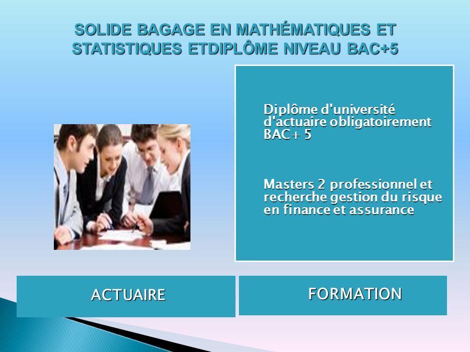 ACTUAIRE FORMATION FORMATION Diplôme d'université d'actuaire obligatoirement BAC+ 5 Masters 2 professionnel et recherche gestion du risque en finance