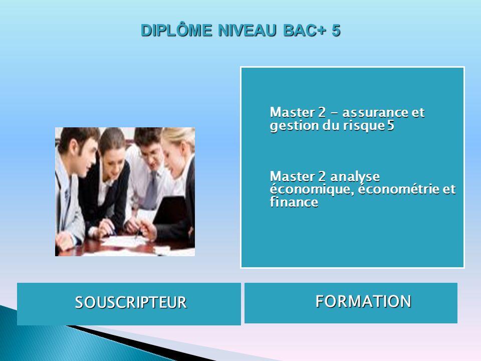 SOUSCRIPTEUR FORMATION FORMATION Master 2 - assurance et gestion du risque5 Master 2 - assurance et gestion du risque 5 Master 2 analyse économique, é