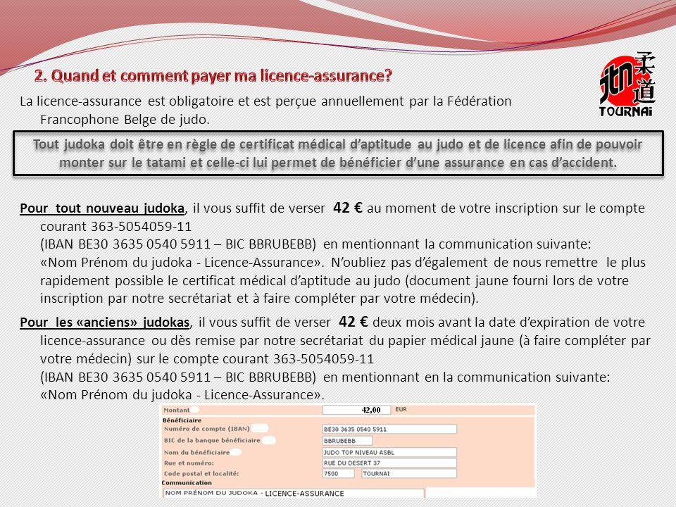 La licence-assurance est obligatoire et est perçue annuellement par la Fédération Francophone Belge de judo.