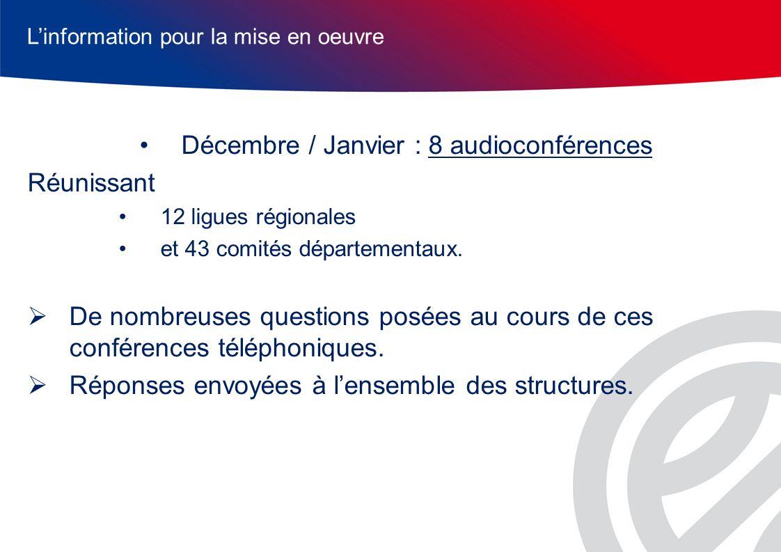 Décembre / Janvier : 8 audioconférences Réunissant 12 ligues régionales et 43 comités départementaux.