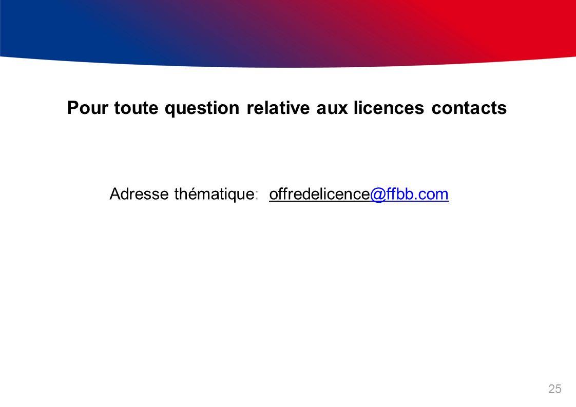 Adresse thématique: offredelicence@ffbb.com@ffbb.com Pour toute question relative aux licences contacts 25