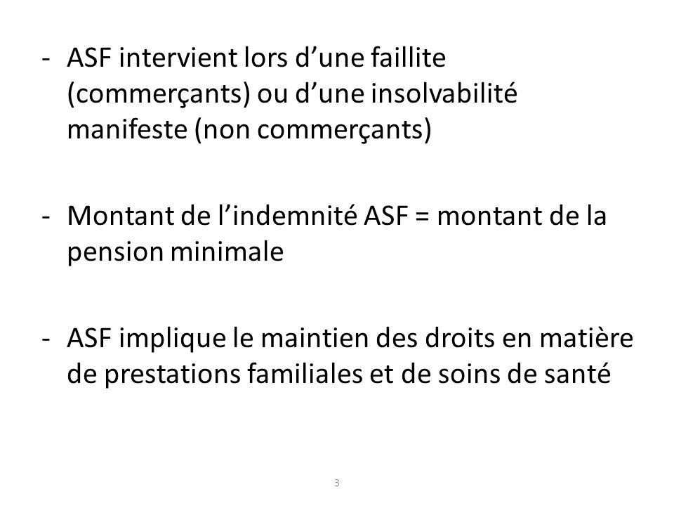 -ASF intervient lors dune faillite (commerçants) ou dune insolvabilité manifeste (non commerçants) -Montant de lindemnité ASF = montant de la pension