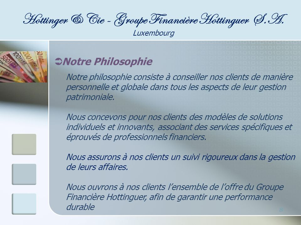 Adresse : 6, Rue Adolphe Fischer L-1520 Luxembourg Téléphone : +352 45 05 62 Fax : +352 45 05 63 Email :hottinger.luxembourg@hottingergroupfin.com Website : www.hottingergroupfin.com Localisation à Luxembourg