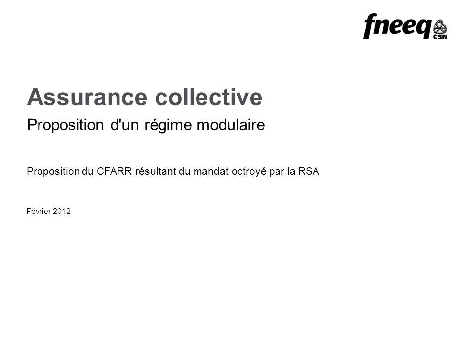 Assurance collective Proposition d un régime modulaire Février 2012 Proposition du CFARR résultant du mandat octroyé par la RSA