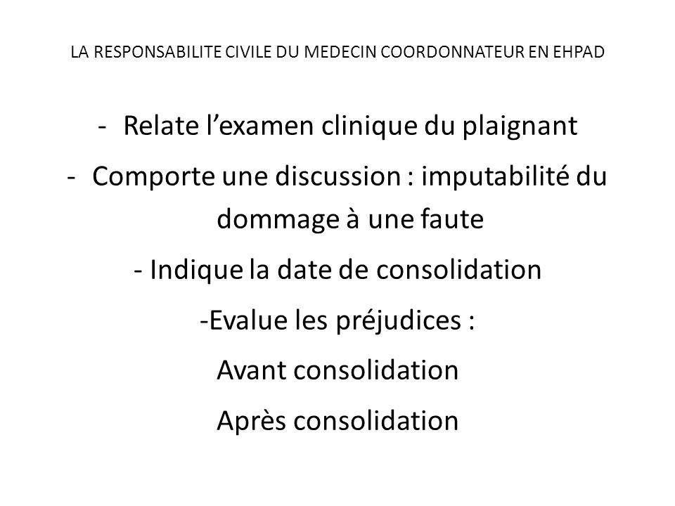 LA RESPONSABILITE CIVILE DU MEDECIN COORDONNATEUR EN EHPAD -Relate lexamen clinique du plaignant -Comporte une discussion : imputabilité du dommage à
