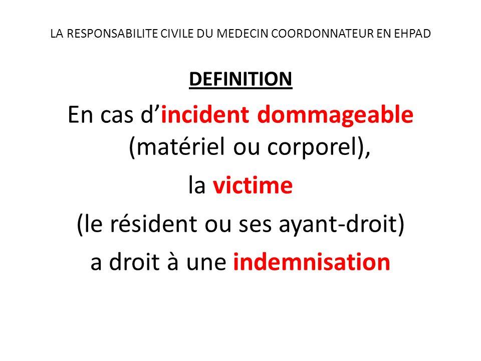 LA RESPONSABILITE CIVILE DU MEDECIN COORDONNATEUR EN EHPAD DEFINITION En cas dincident dommageable (matériel ou corporel), la victime (le résident ou ses ayant-droit) a droit à une indemnisation