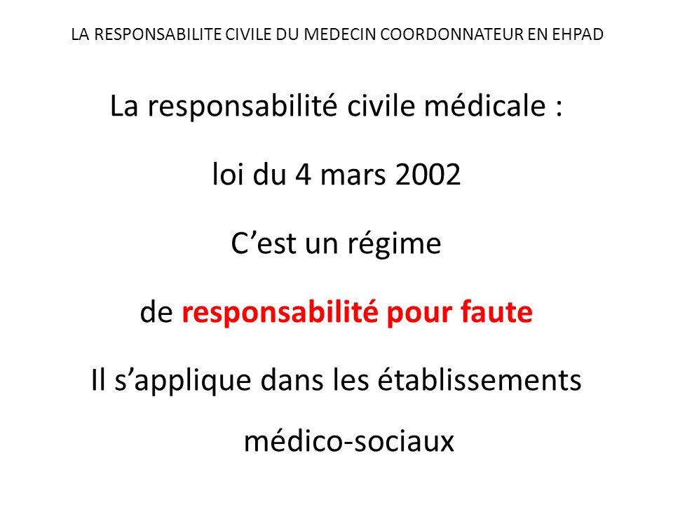 LA RESPONSABILITE CIVILE DU MEDECIN COORDONNATEUR EN EHPAD La responsabilité civile médicale : loi du 4 mars 2002 Cest un régime de responsabilité pou