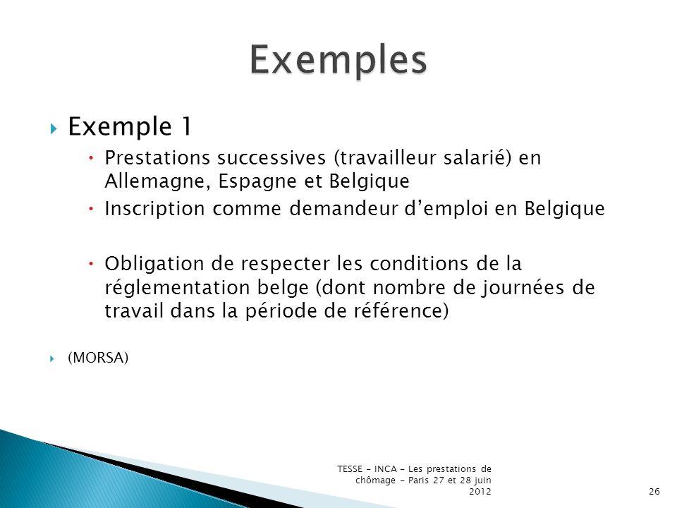 Exemple 1 Prestations successives (travailleur salarié) en Allemagne, Espagne et Belgique Inscription comme demandeur demploi en Belgique Obligation de respecter les conditions de la réglementation belge (dont nombre de journées de travail dans la période de référence) (MORSA) TESSE - INCA - Les prestations de chômage - Paris 27 et 28 juin 201226
